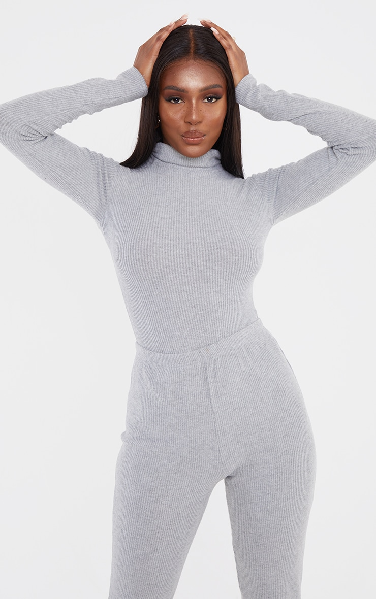 Tall Grey Brushed Rib Roll Neck Long Sleeve Bodysuit 1