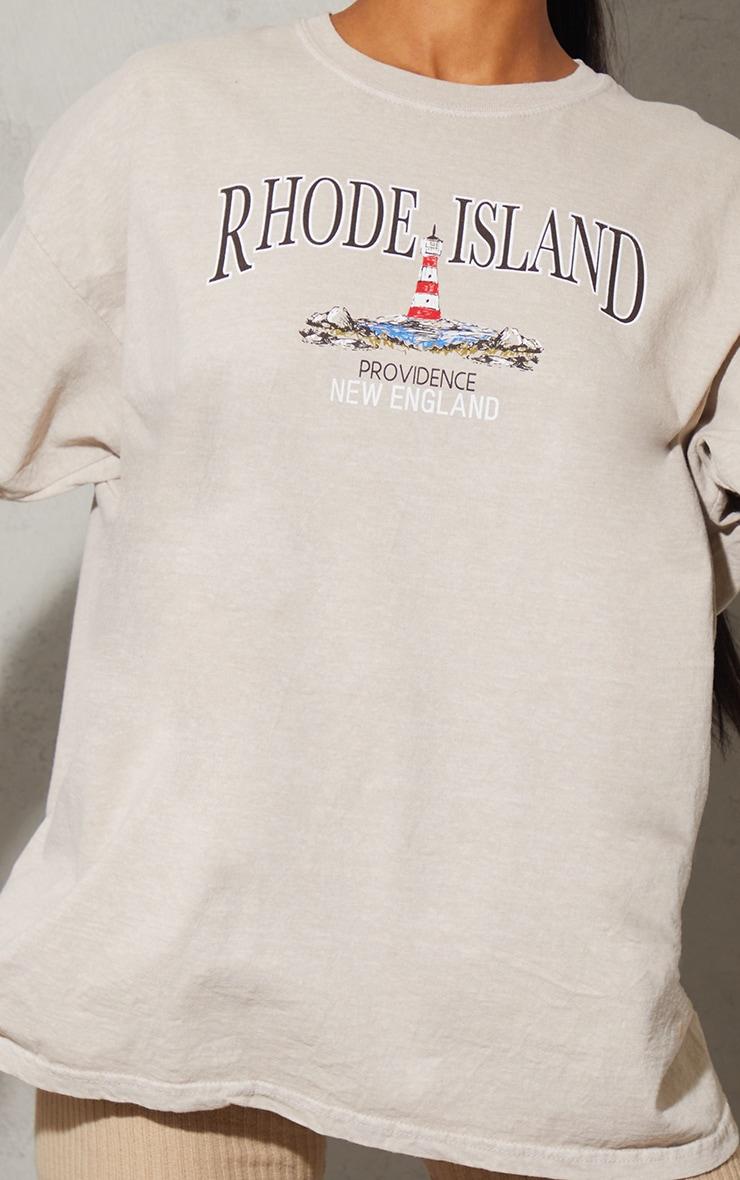Sand Rhode Island Washed Printed T Shirt 4