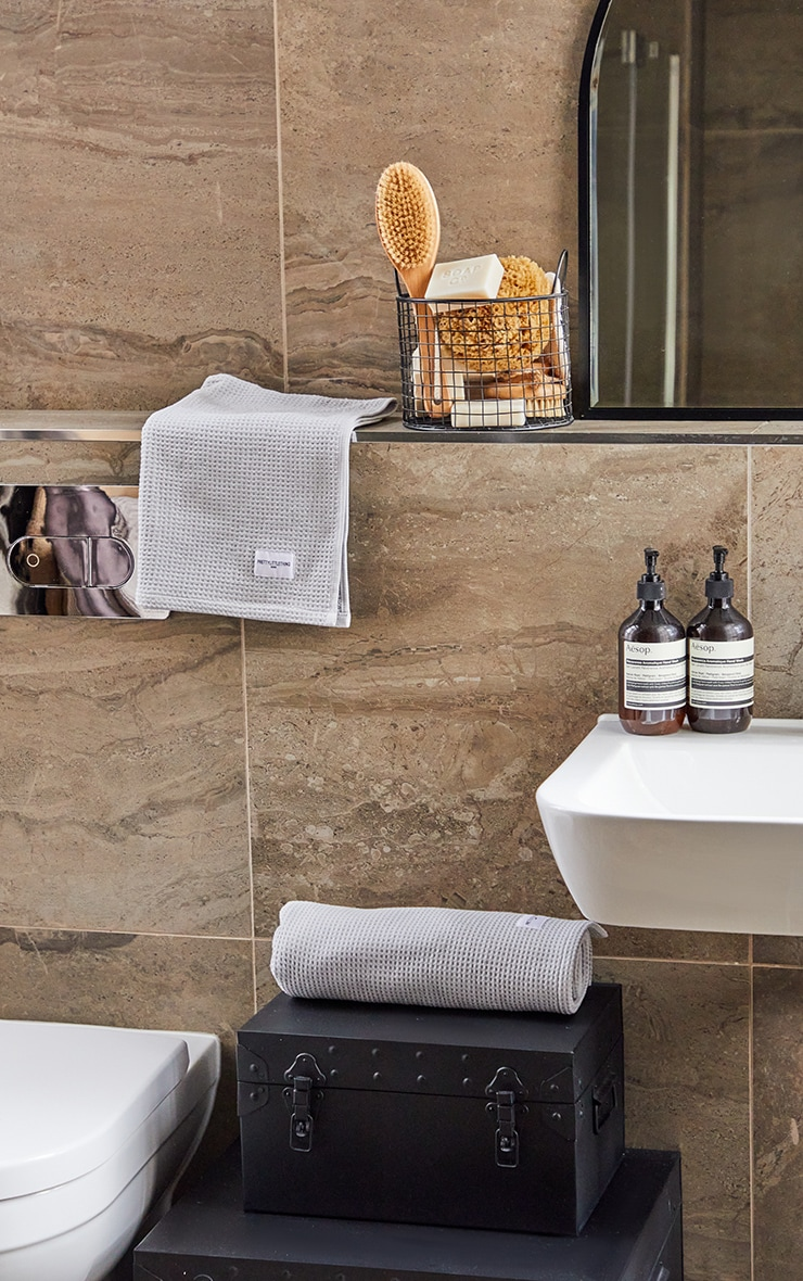 Grey Waffle Cotton Large Bath Towel 2