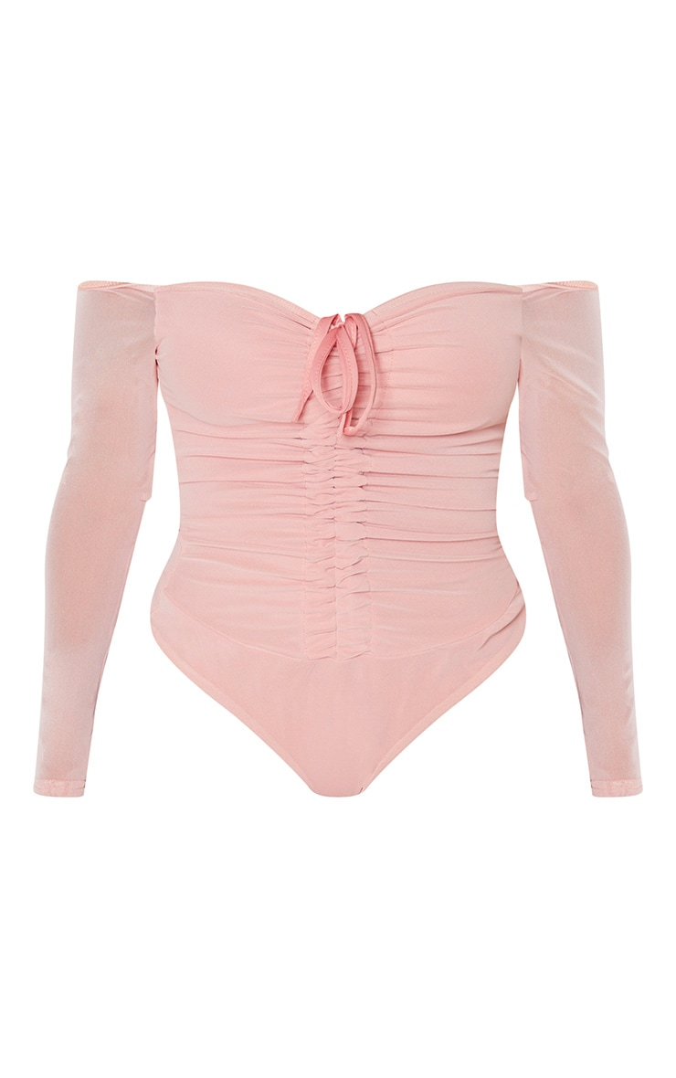 Shape Dusty Pink Mesh Long Sleeve Ruched Bodysuit 3