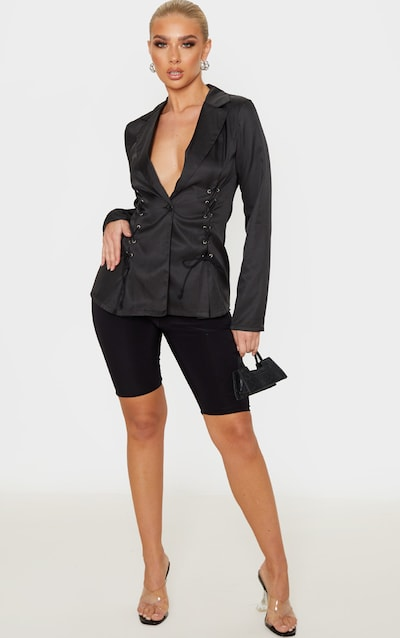 Black Woven Lace Up Detail Blazer