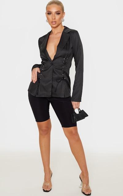 Black Woven Lace Up Detail Blazer