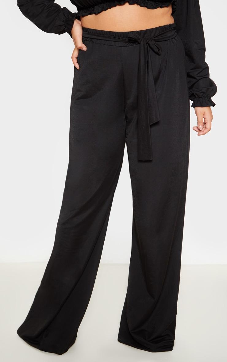 Plus Black Woven Wide Leg Trousers 2