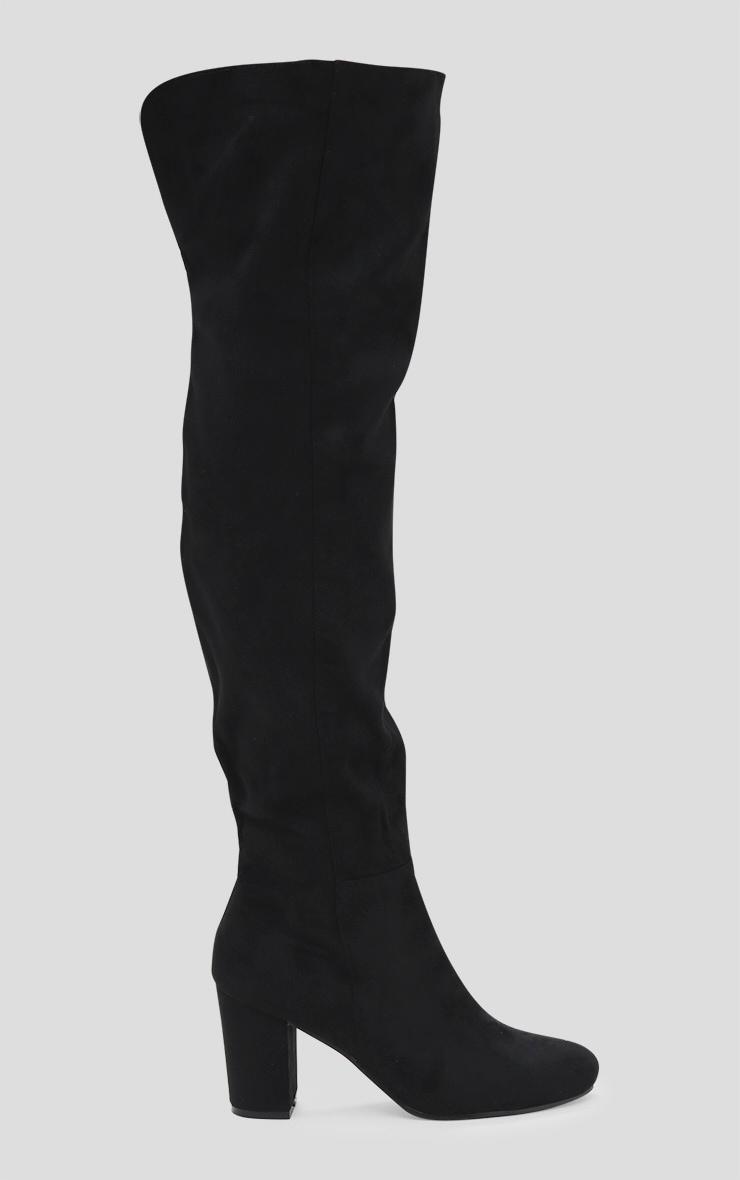 Black Microfibre Mid Heel Thigh Boot 3