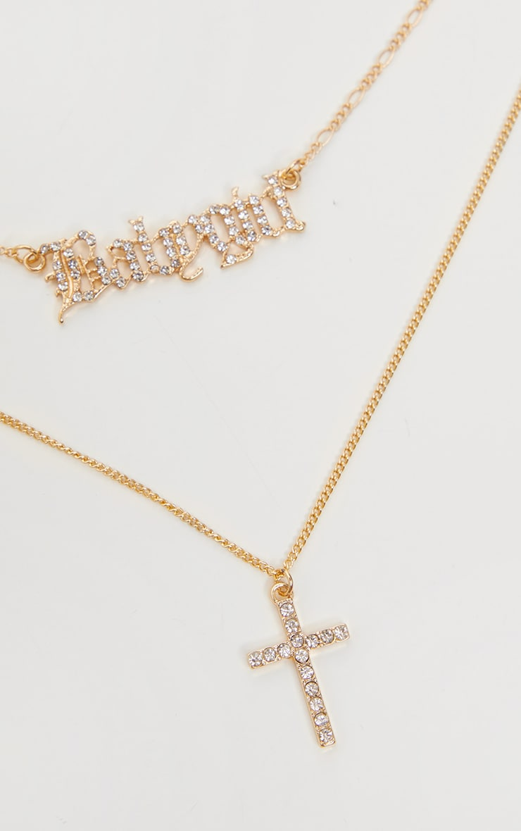 Gold Triple Layer Babygirl And Cross Necklace 3