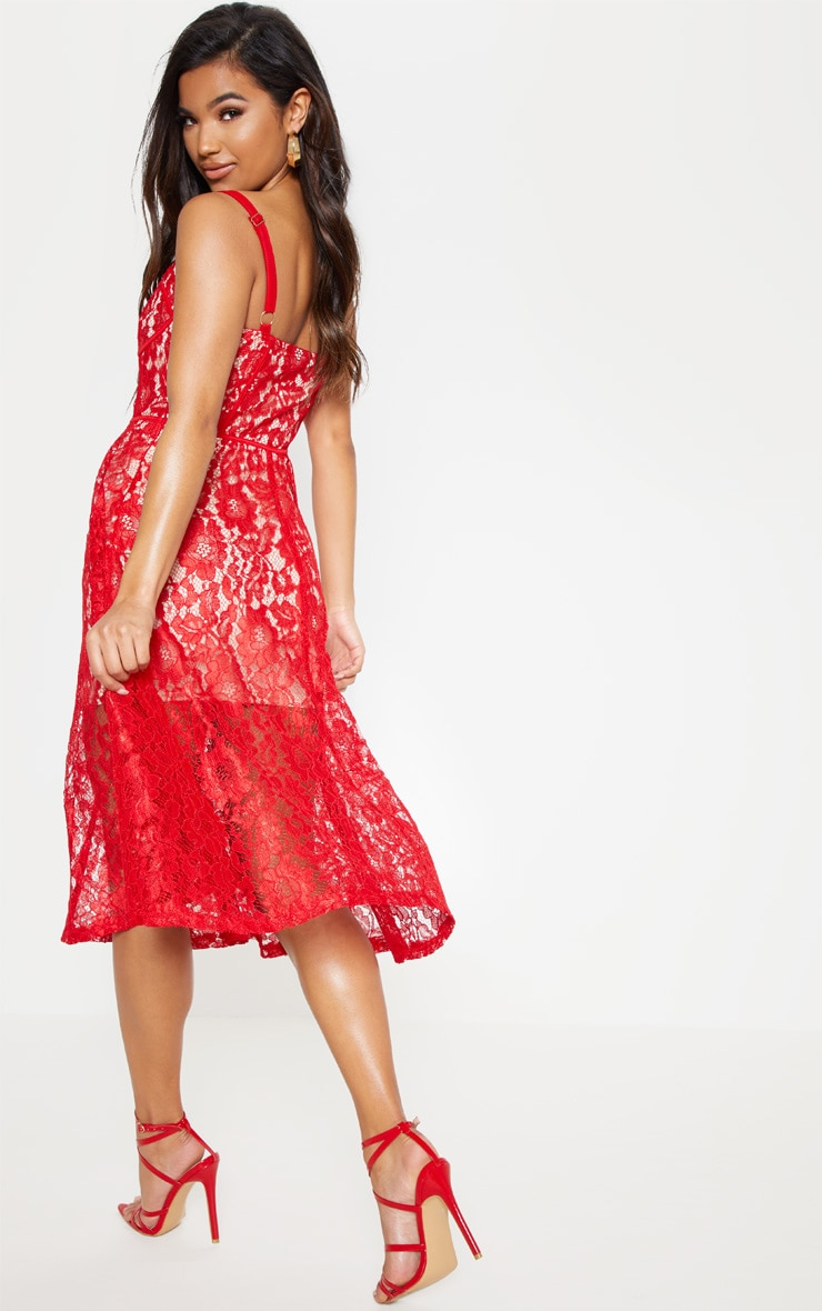 Red Lace Cup Detail Midi Dress 3