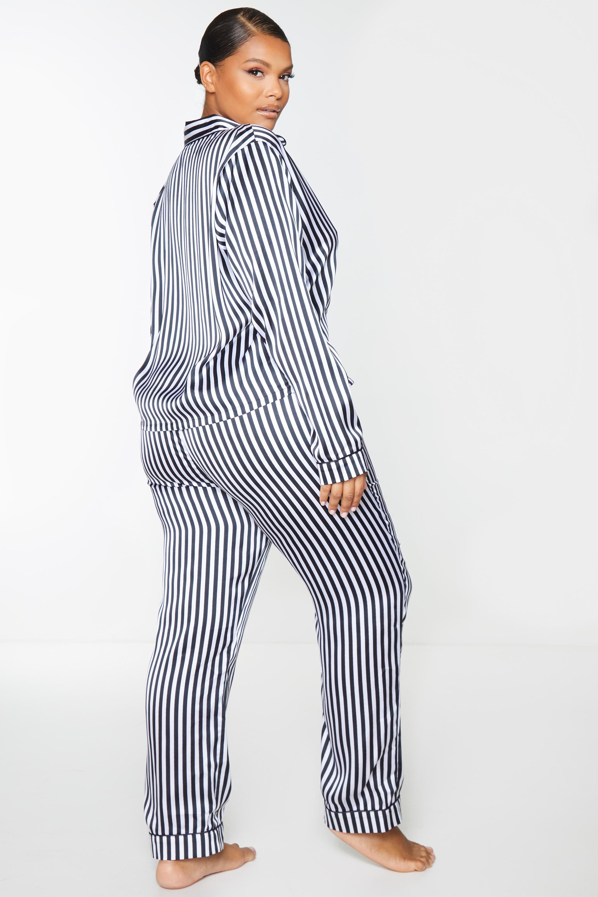Plus Black Long Striped Satin PJ Set 2