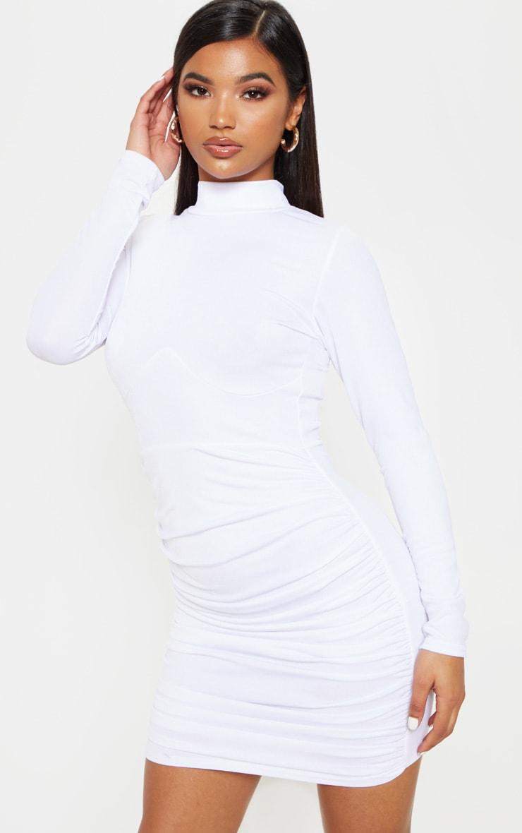 Era dress ruched long sleeve bodycon white