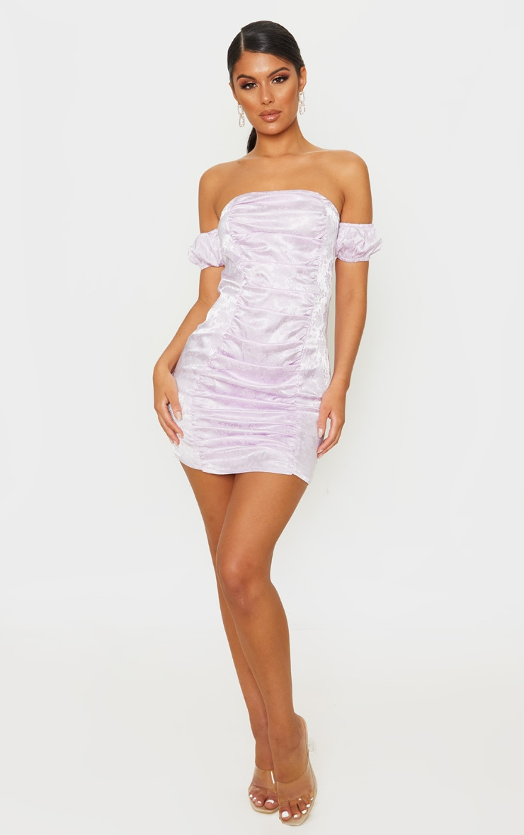 Lilac Jacquard Floral Short Sleeve Ruched Front Bodycon Dress 4
