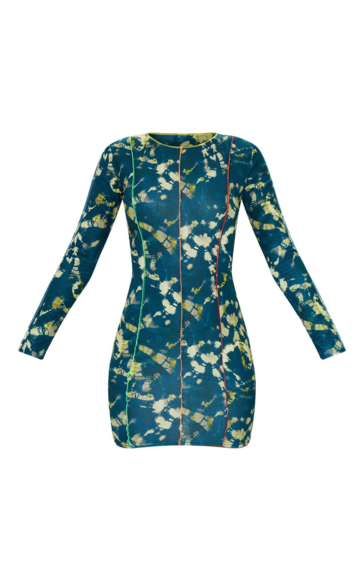 Multi Long Sleeve Multi Stitch Detail Bodycon Dress 5