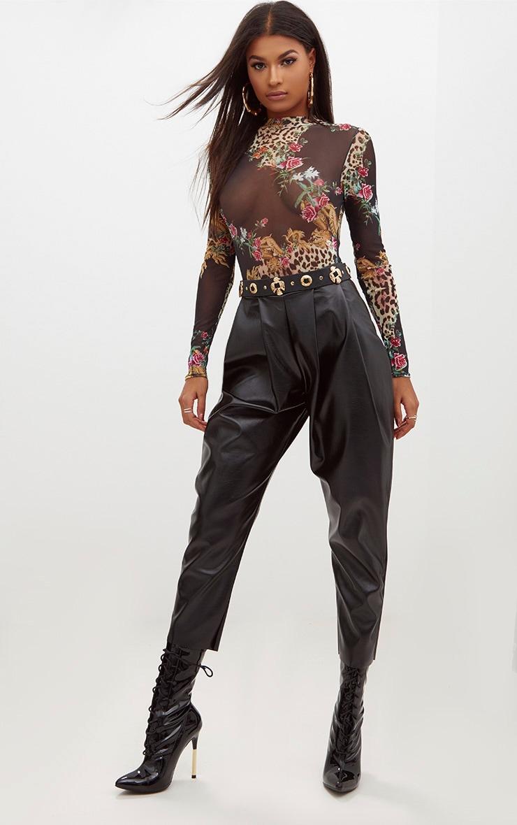 Black Oriental Leopard Print Mesh Longsleeve Bodysuit 5