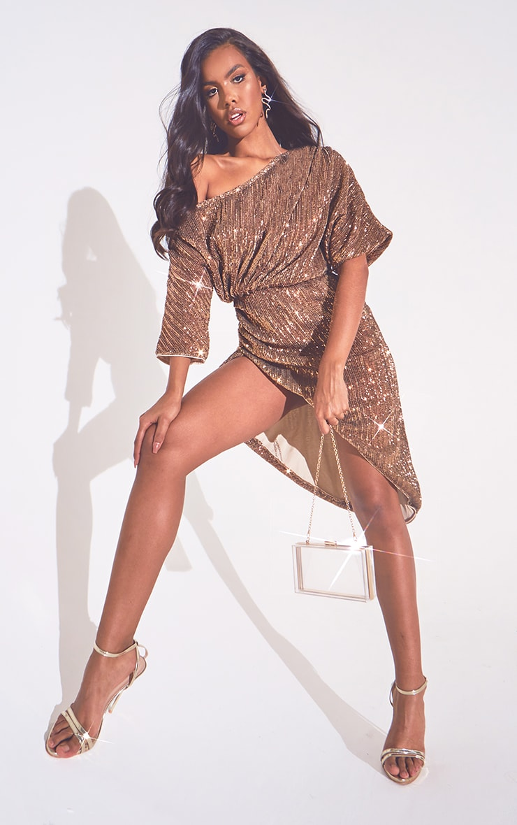 Bronze Off Shoulder Sequin Midi Dress 1