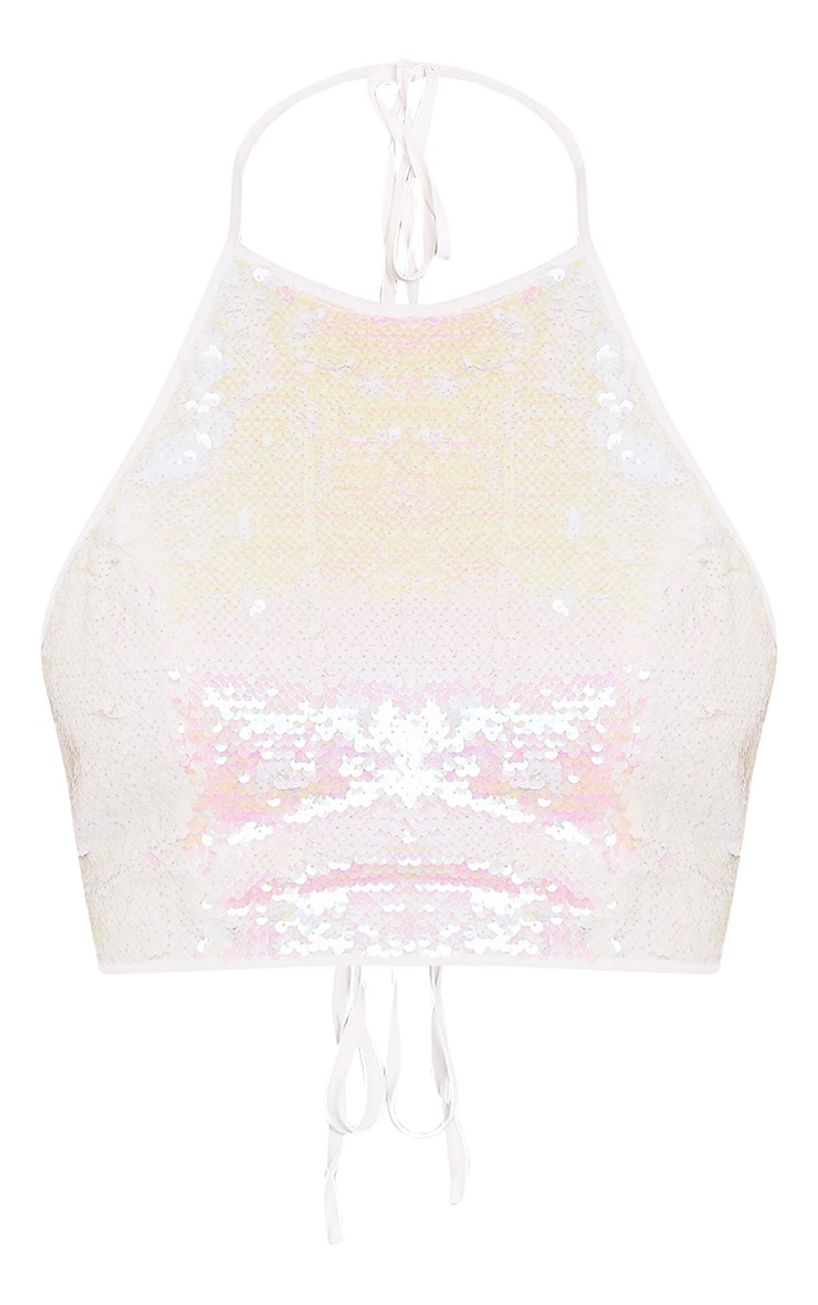 Liberty White Sequin Halterneck Crop Top 3