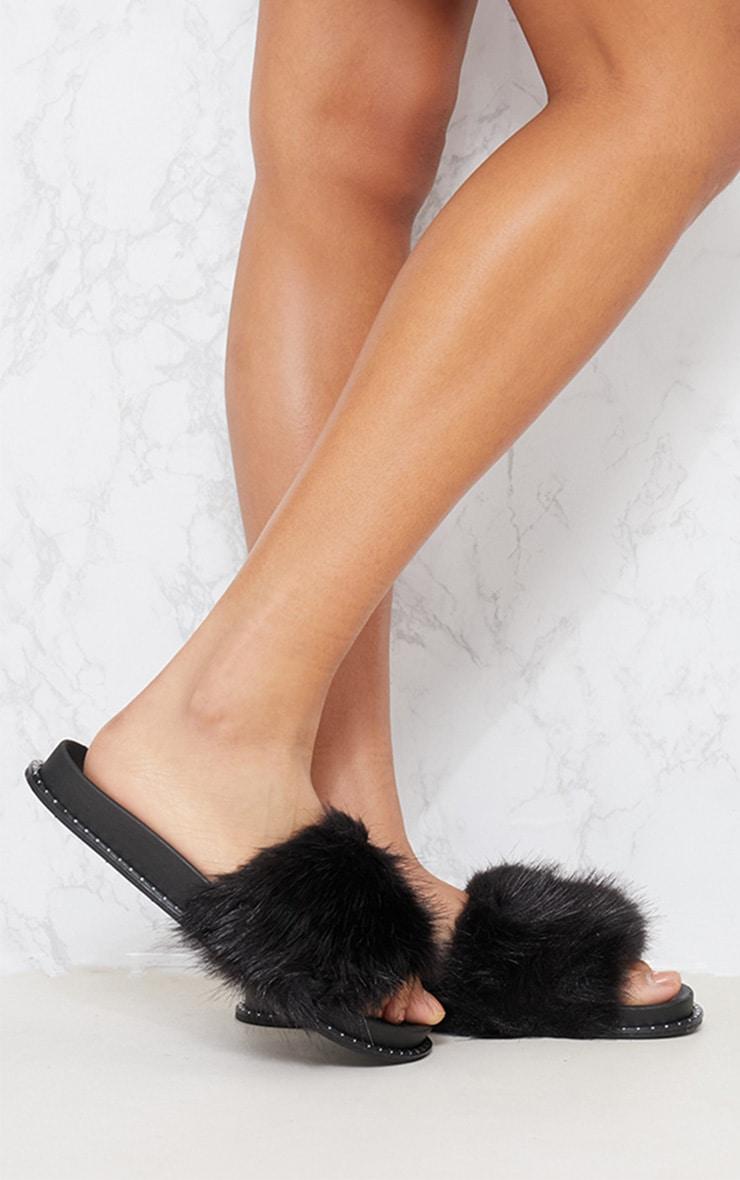 Black Faux Fur Studded Sliders 1