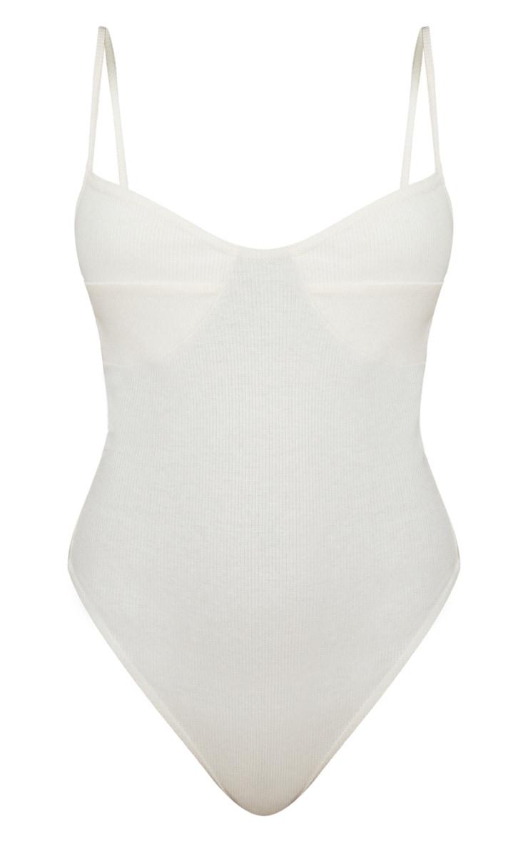 Cream Rib Cup Detail Thong Bodysuit  3