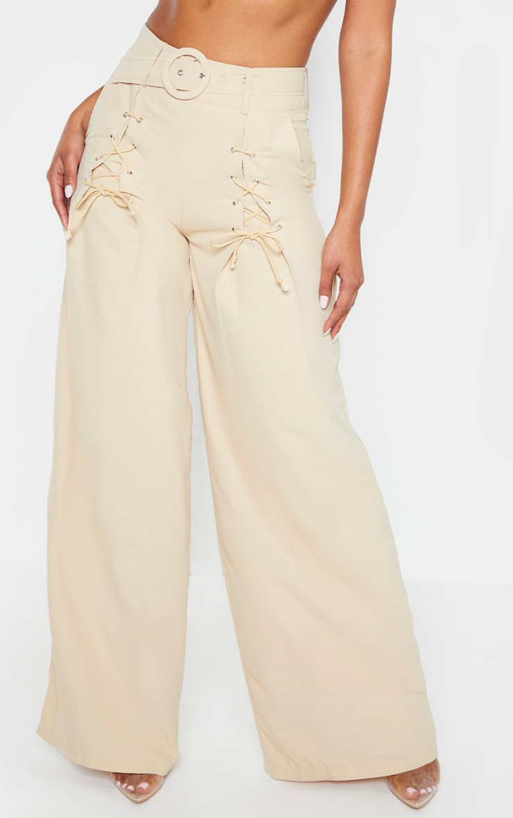 Stone Woven Belted Lace Detail Wide Leg Trouser 2