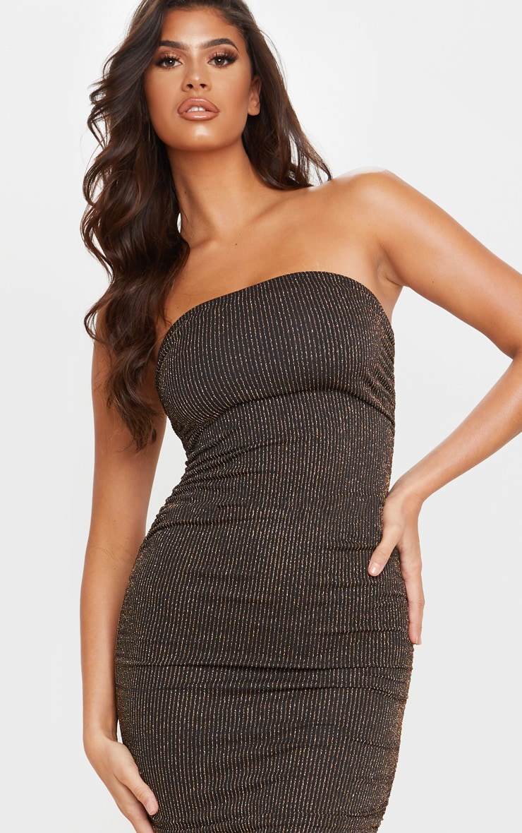Gold Glitter Stripe Ruched Bandeau Bodycon Dress 5
