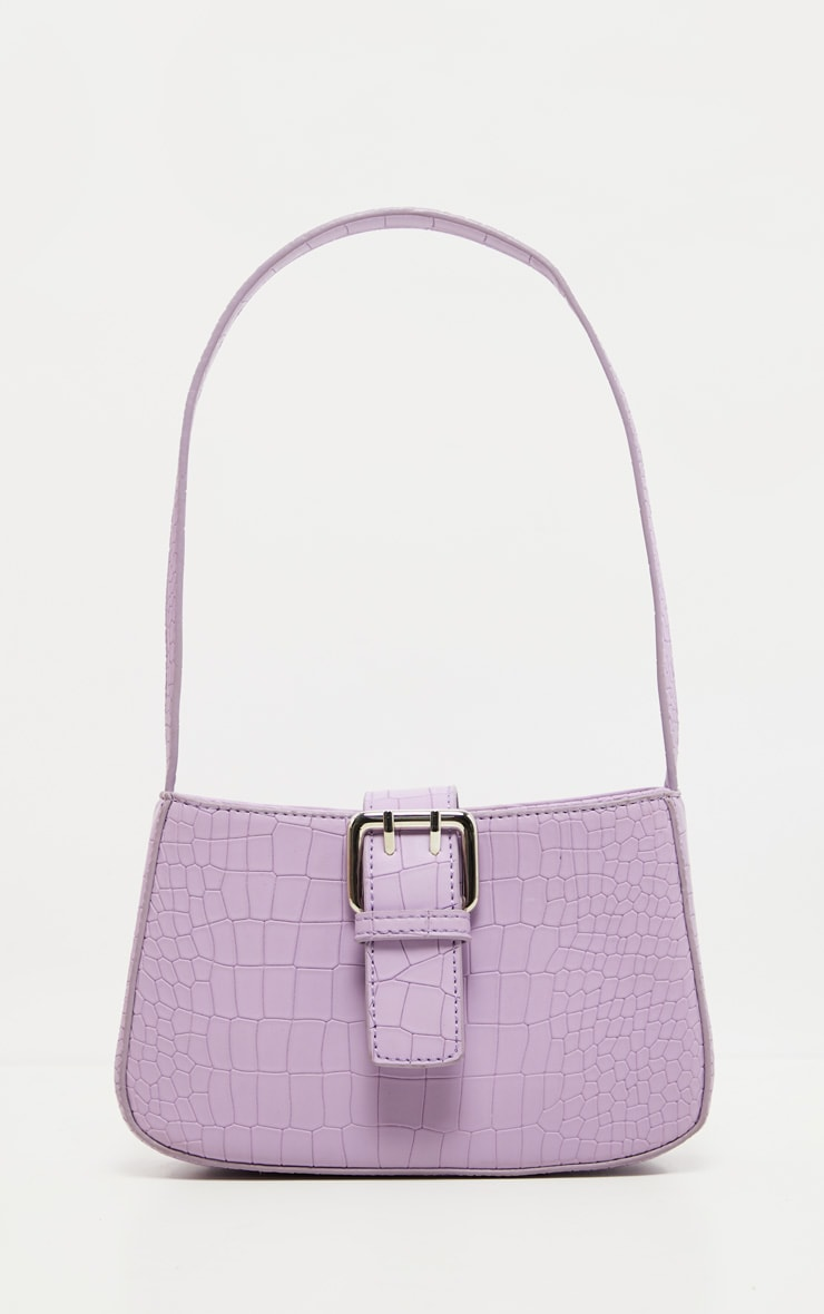 Lilac Croc Buckle Front Shoulder Bag 2
