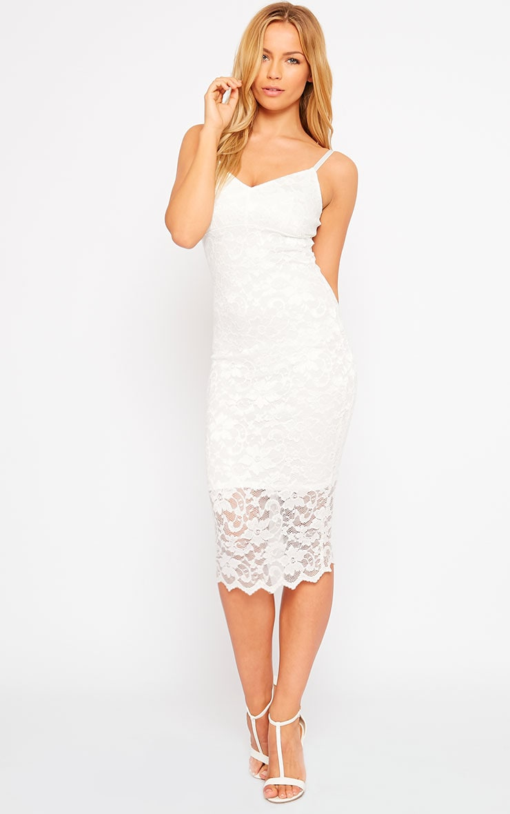 Adley White Lace Midi Dress 1