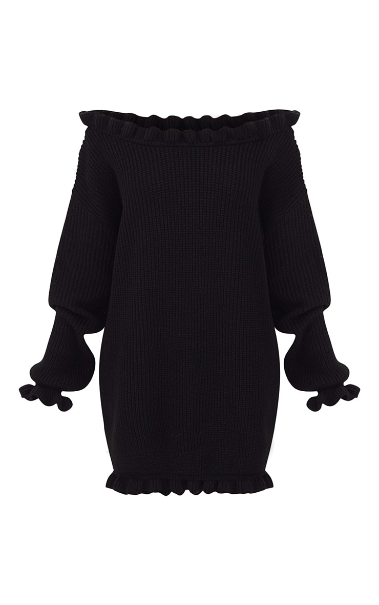 Black Bardot Knitted Jumper Dress 3