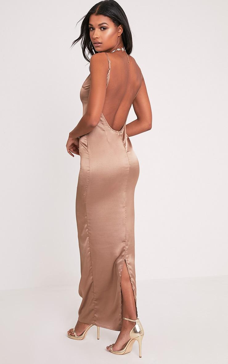 Tinala Taupe Silky Low Back Maxi Dress 1