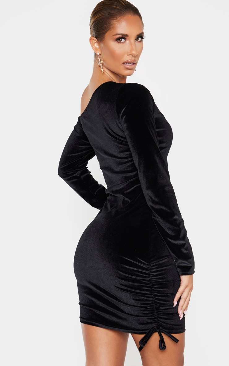 Black Ruched Velvet  Long Sleeve Bodycon Dress 2