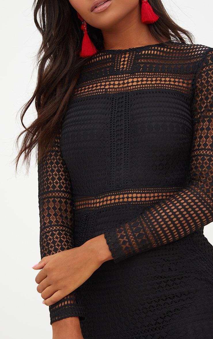 Black Lace Long Sleeve Midi Dress 5