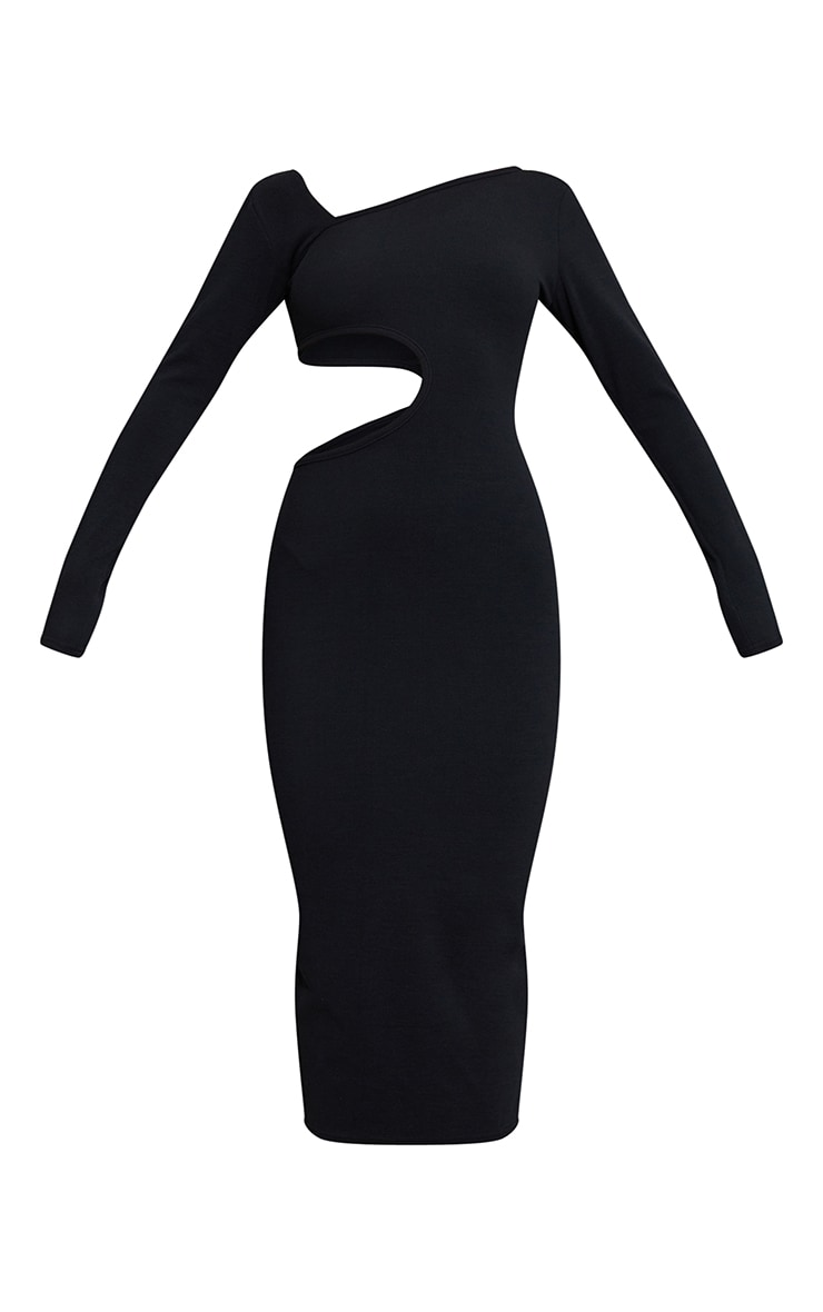 Black Ribbed Long Sleeve Cut Out Midaxi Dress 5