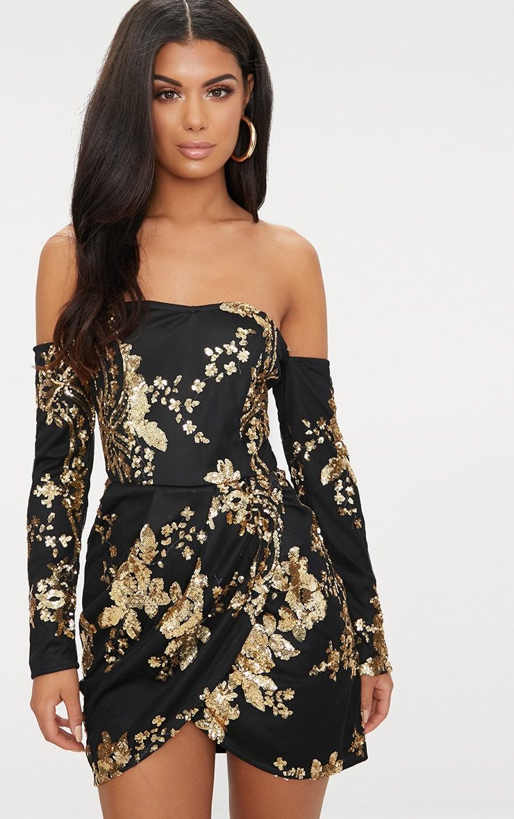 Black Floral Sequin Bardot Bodycon Dress