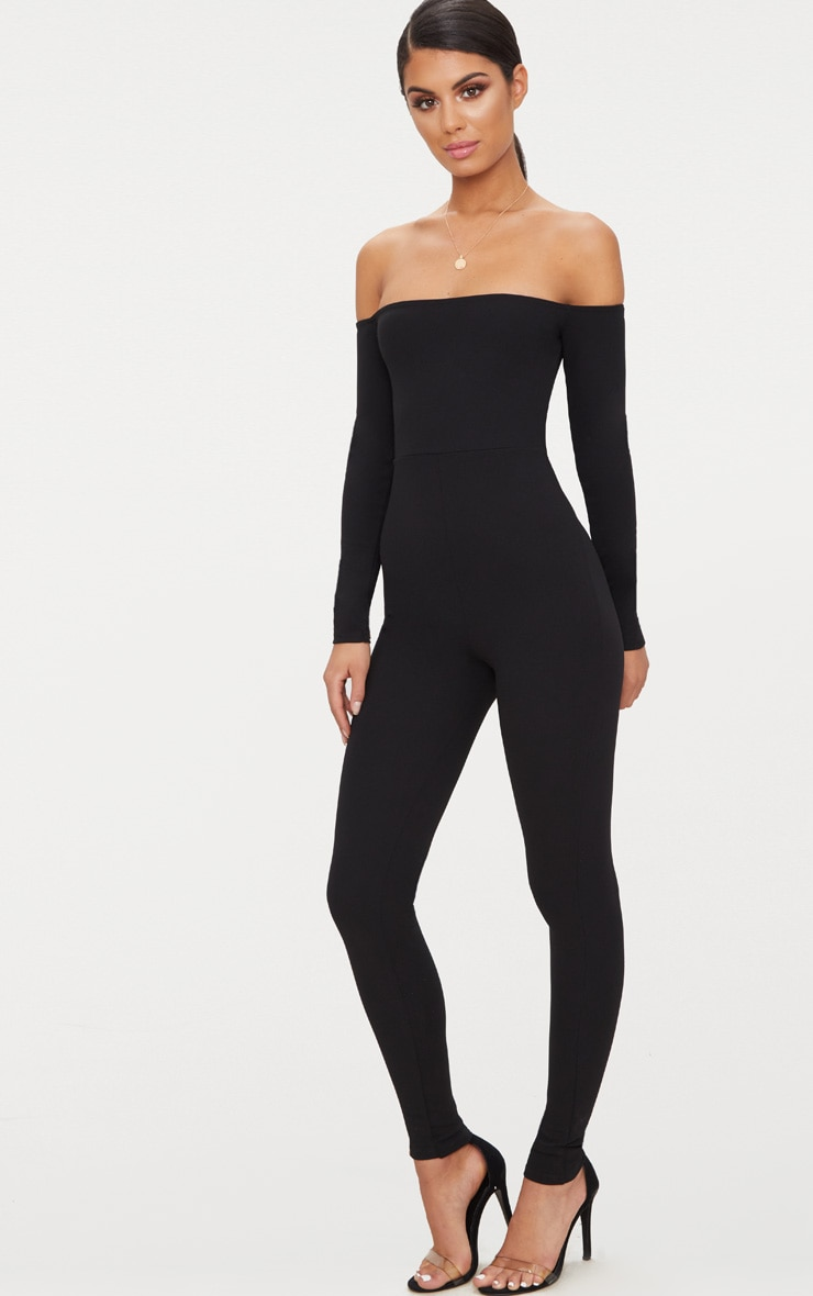 Black Long Sleeve Bardot Jumpsuit 4