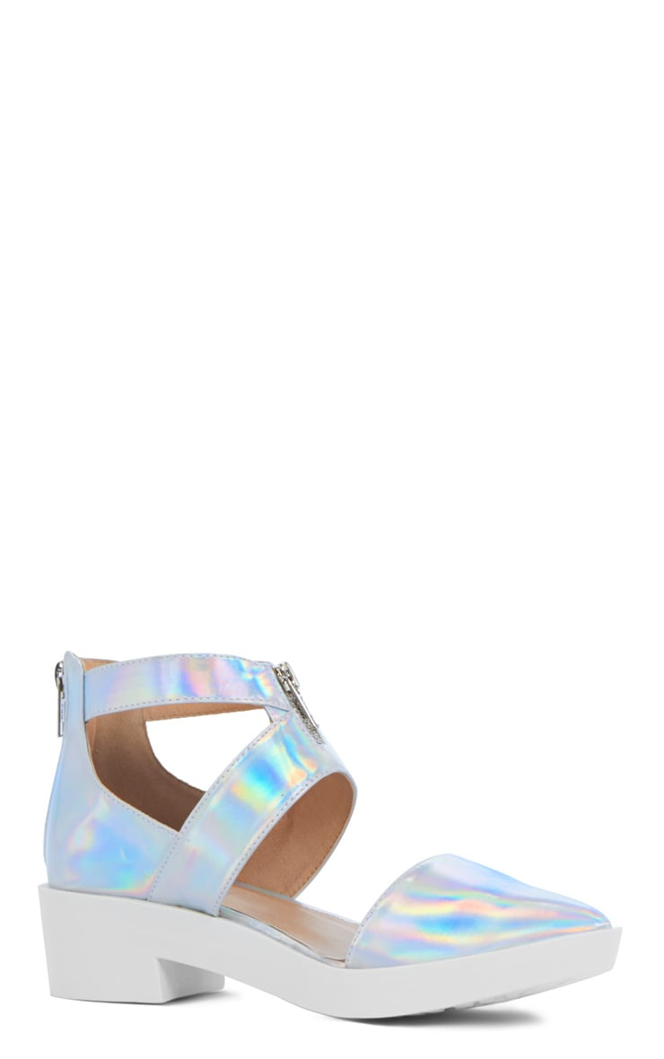 Sage Holographic Cut Out Pointed Shoe 4