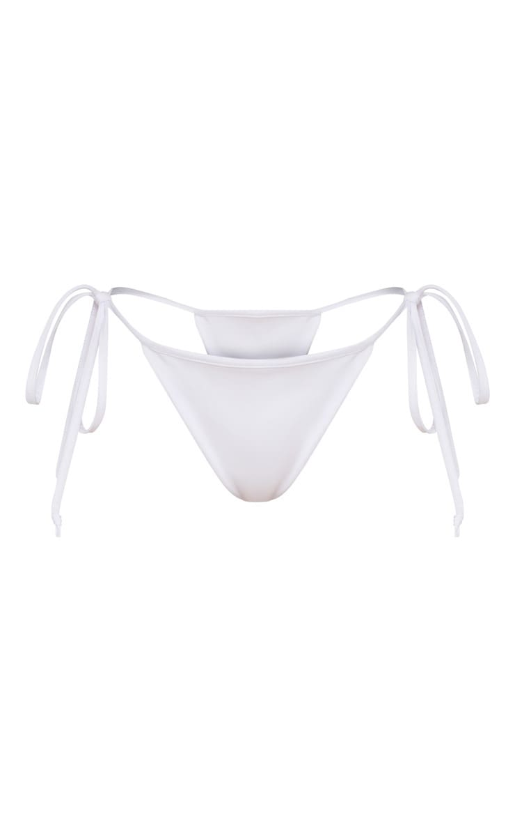 White  Mix & Match Adjustable Tie Side Bikini Bottom 3