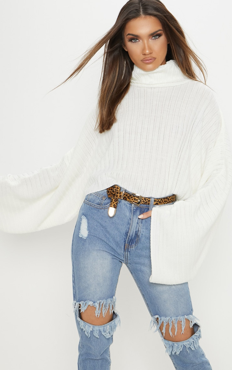 Cream Ribbed Knit High Neck Sweater  2
