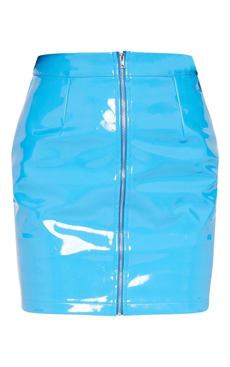 Blue Zip Front Vinyl Mini Skirt 3