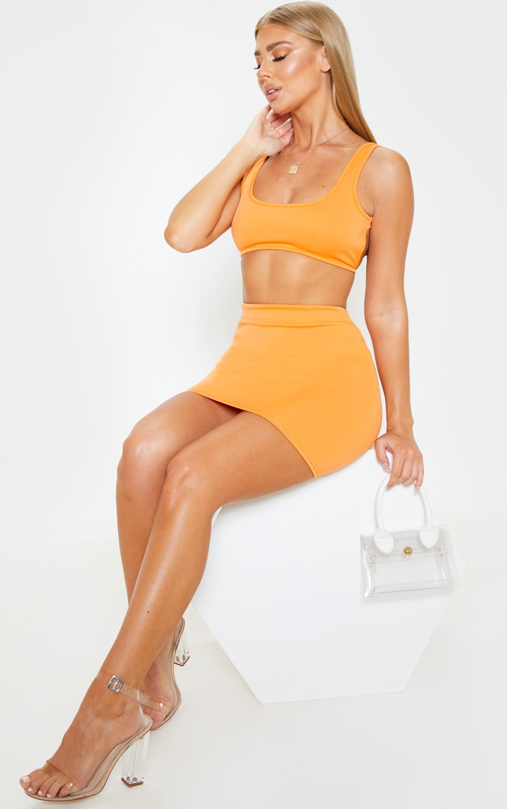 Orange Crepe Scoop Neck Strap Crop Top 4