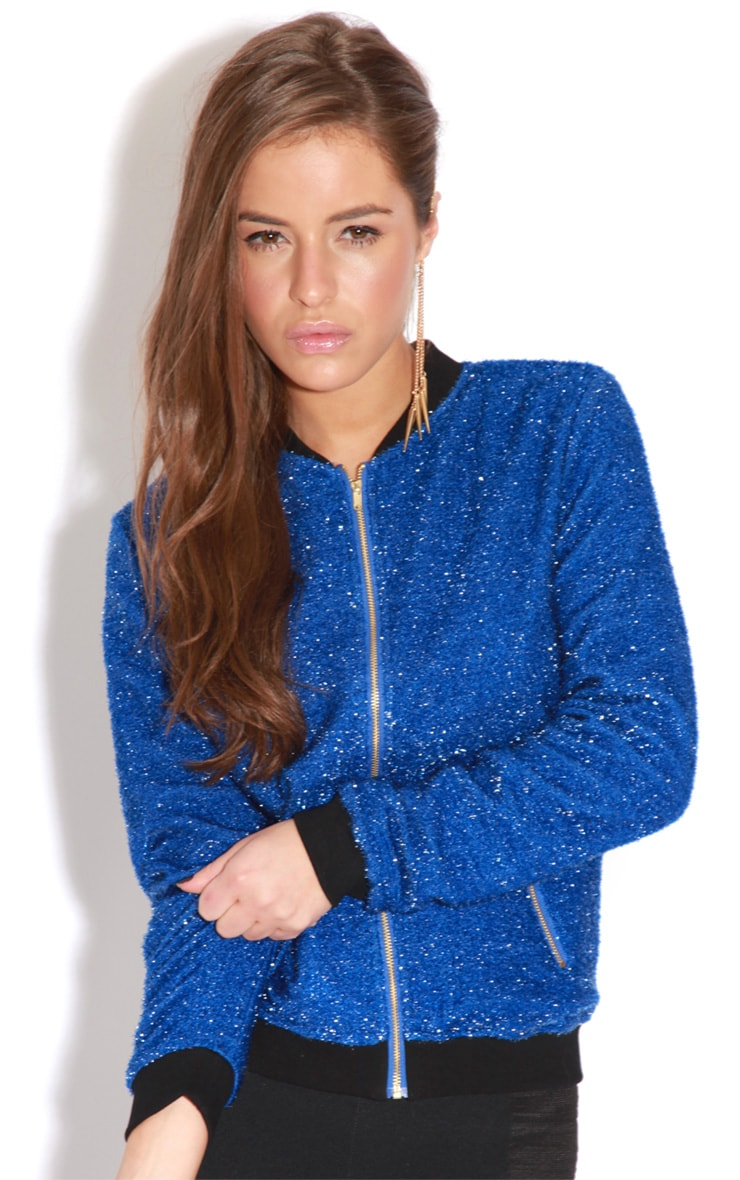 Hannah Blue Glitter Bomber Jacket 4