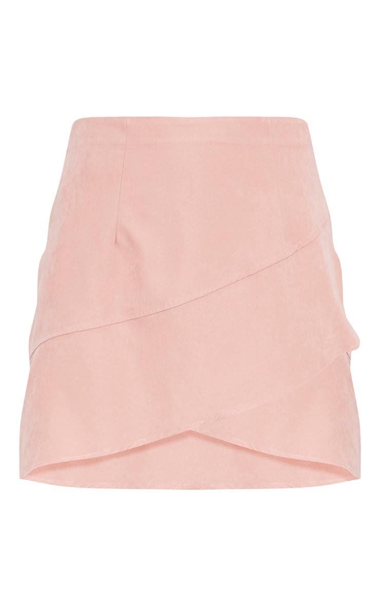 Bexley Blush Wrap Hem Faux Suede Mini Skirt 3
