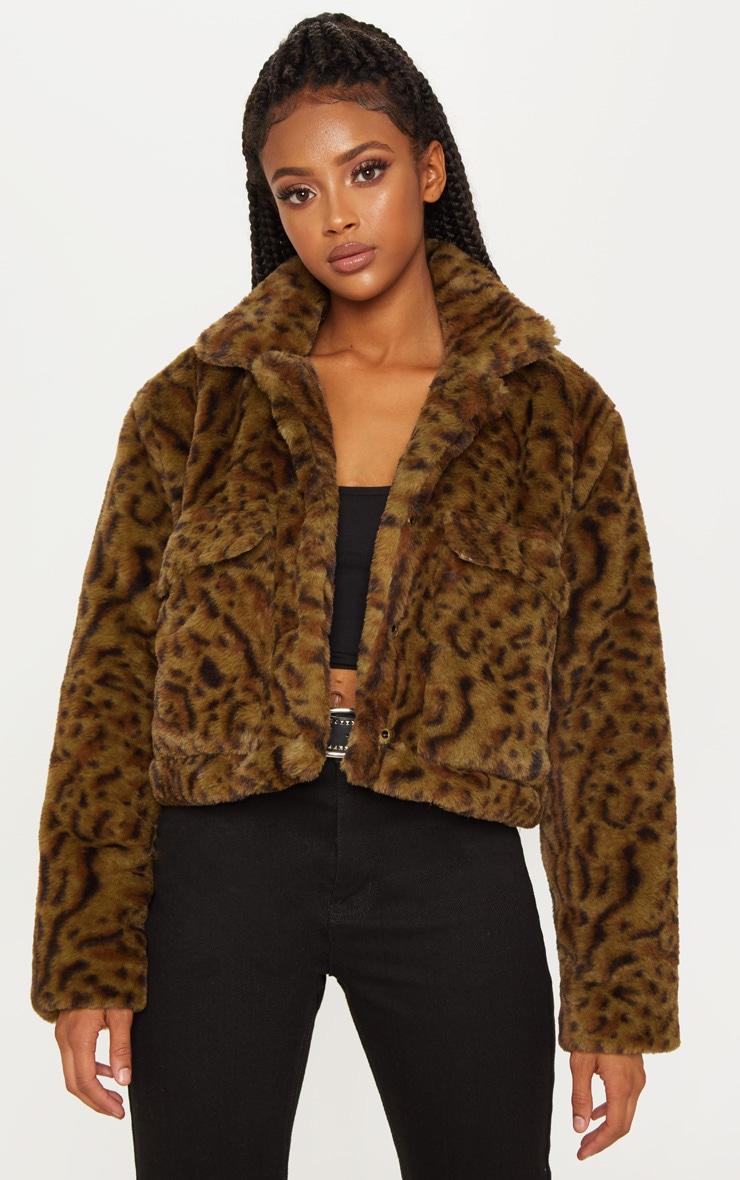 Khaki Leopard Faux Fur Trucker  4