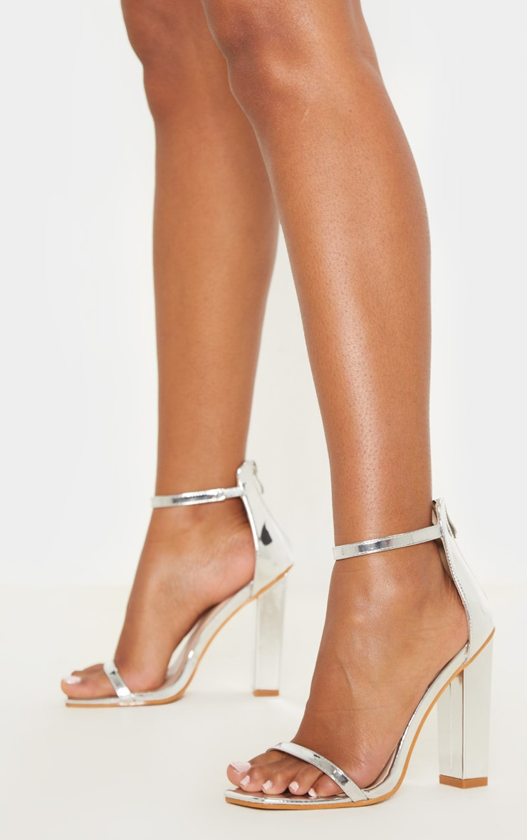 Silver Square Toe High Block Heel Sandal 1
