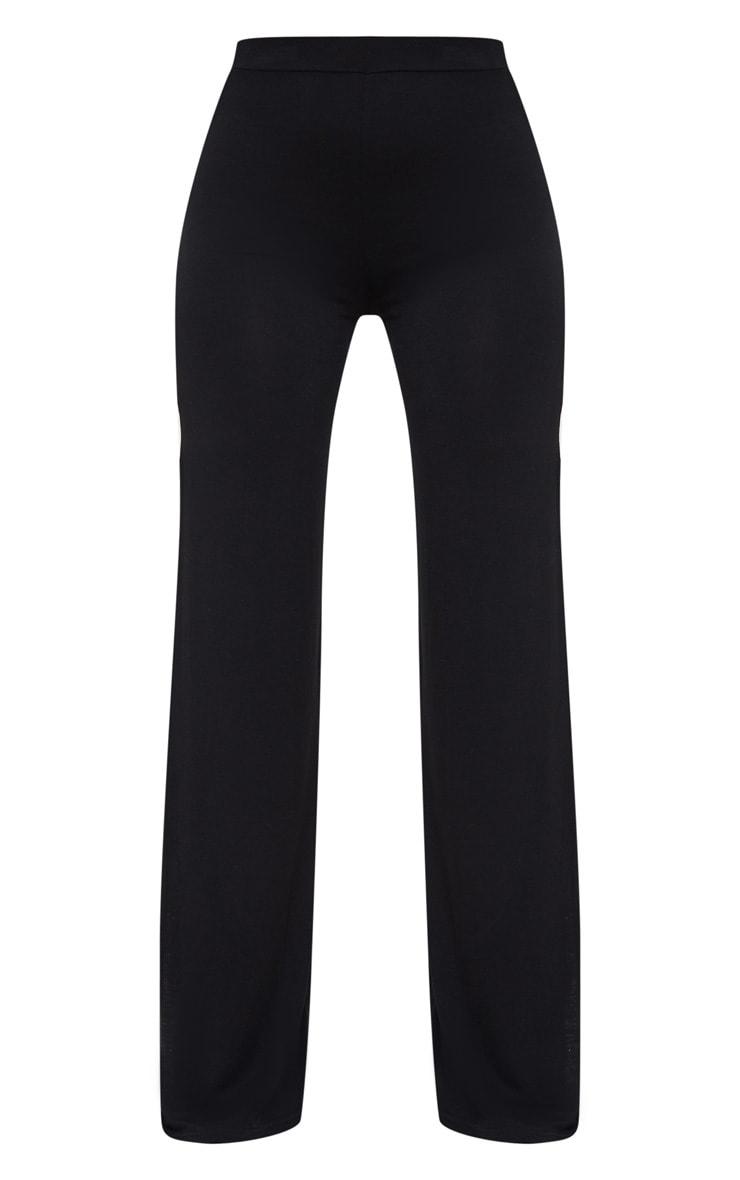 Pantalon taille haute en jersey noir à jambes évasées fendues 5