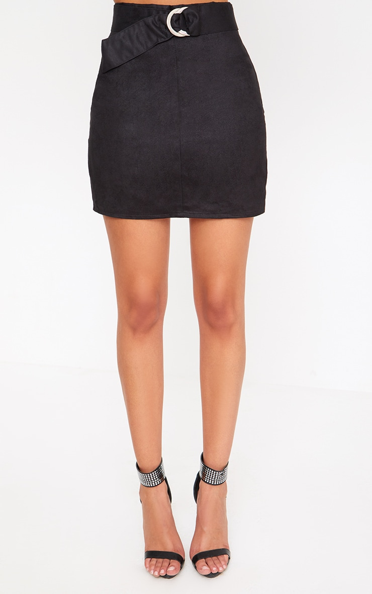Black Faux Suede Belted Mini Skirt 2