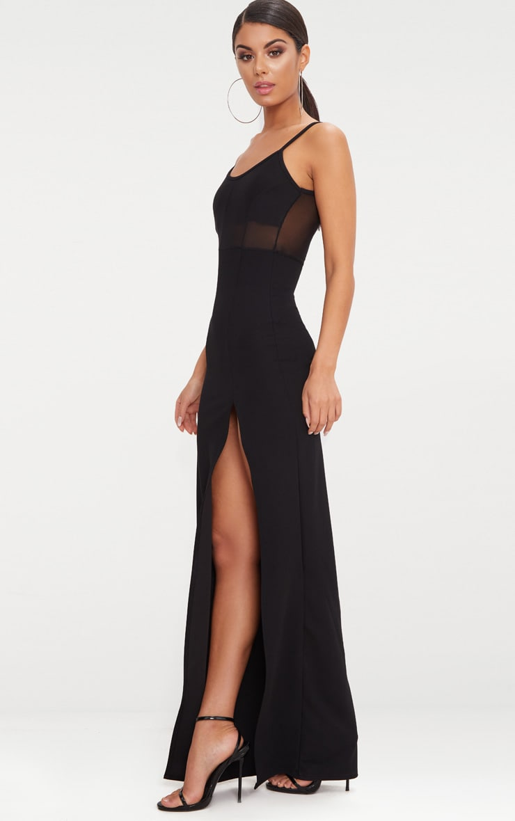 Black Mesh Panelled Strappy Extreme Split Maxi Dress 3