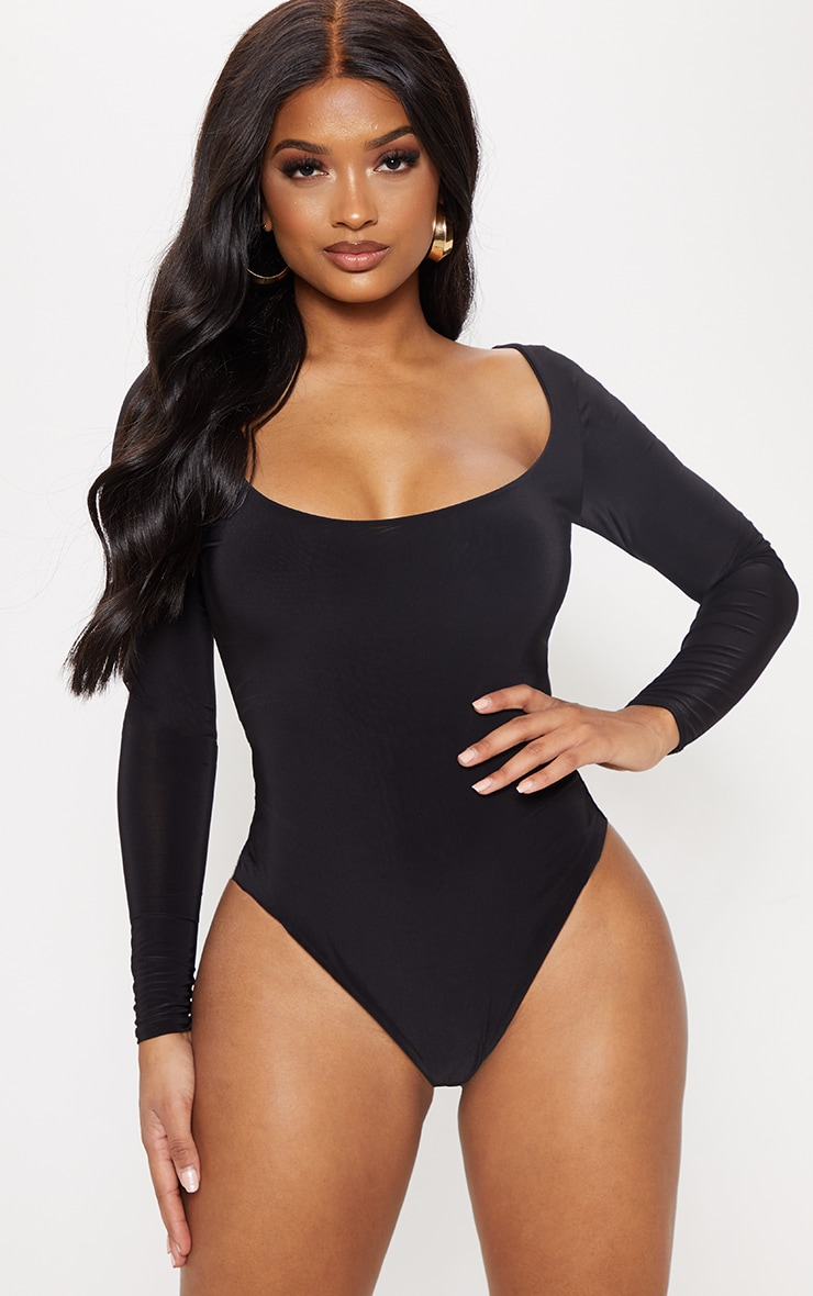 Shape Black Slinky Scoop Neck Bodysuit 2