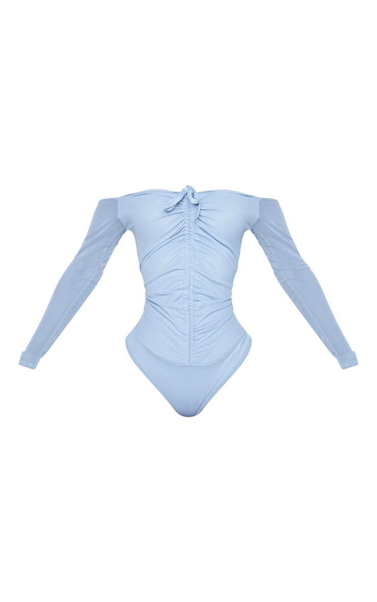 Shape Dusty Blue Mesh Long Sleeve Ruched Bodysuit 5