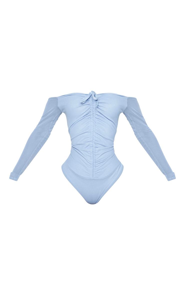 Shape Dusty Blue Mesh Long Sleeve Ruched Bodysuit 5