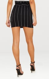 fb557224a464 Black Pinstripe Tie Waist Mini Skirt | Skirts | PrettyLittleThing