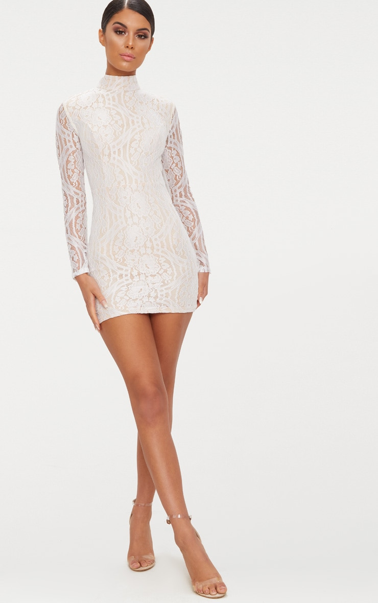 White High Neck Long Sleeve Lace Bodycon Dress 4