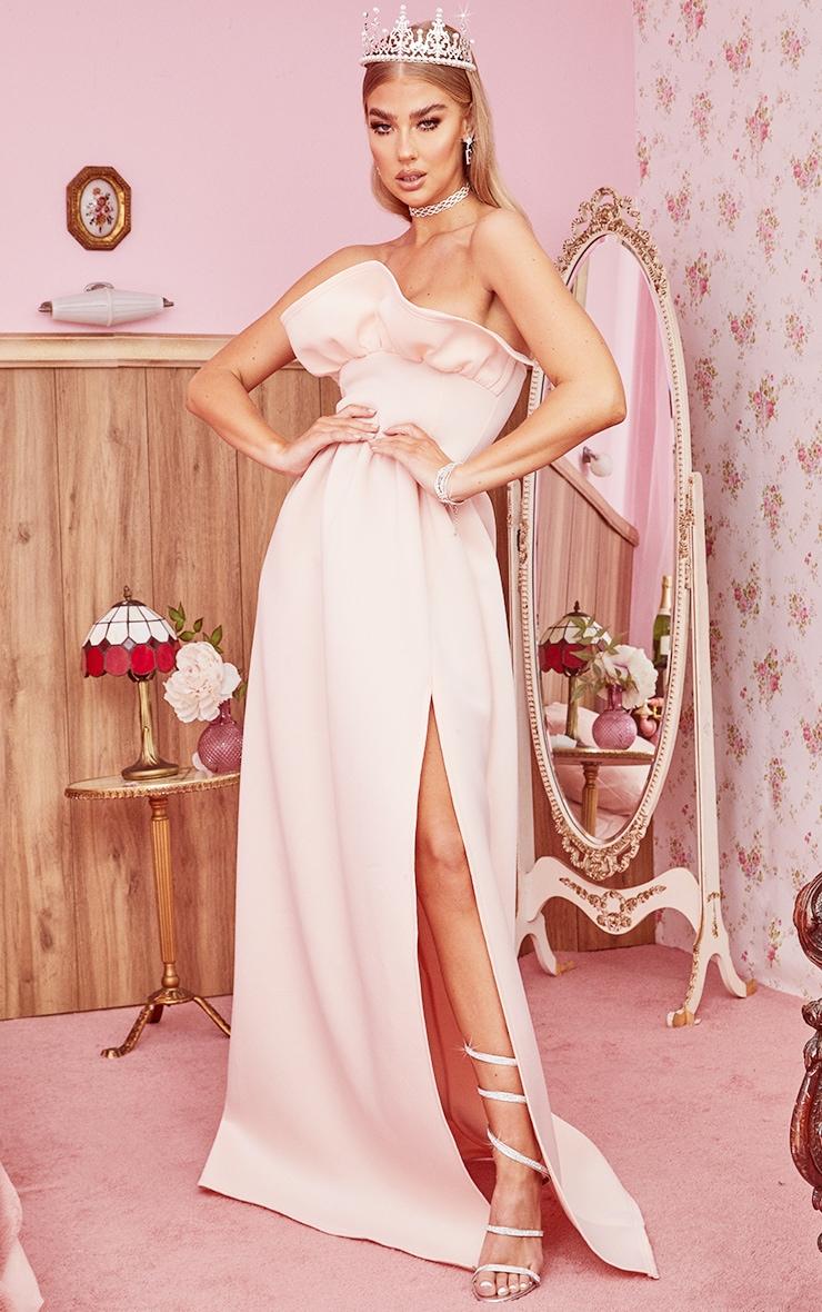 Nude Scuba Frill Bust Bandeau Maxi Dress