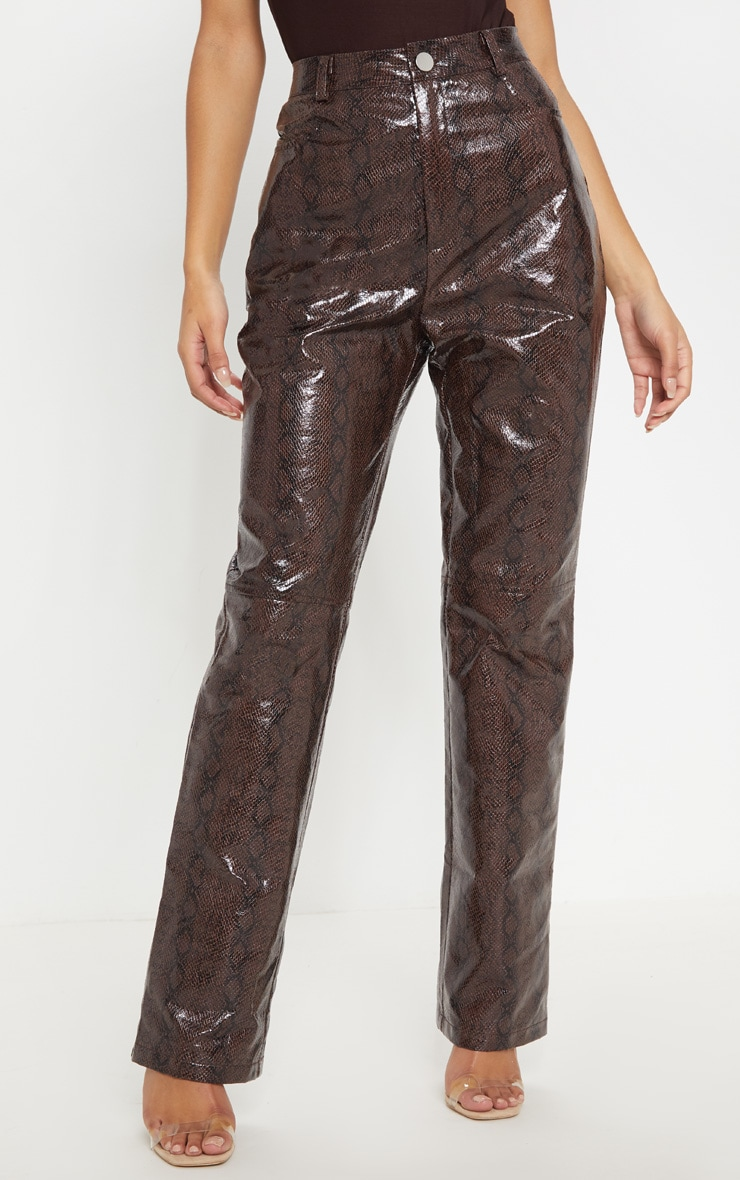 Brown Faux Leather Snakeskin Straight Leg Pants 2