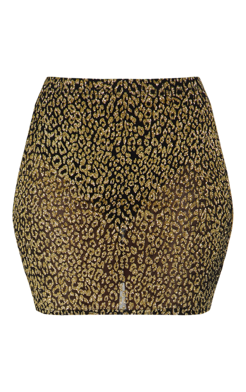 Gold Glitter Leopard Print Mini Skirt 3